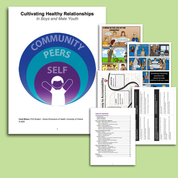 """The cover page on the left reads """"Community Peers Self"""" inside the tops of three consecutive purple, teal, and blue circles. It reads """"Cultivating Healthy Relationships in Boys and Male Youth."""" To the right is a stack of sample pages. It is all against a light green background."""